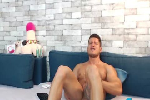 muscular Euro Ethan Joy Cums With An OhMiBod Inside His taut butthole